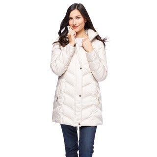 Kenneth Cole Women's Chevron Quilt Walker with Fur Trim Hood