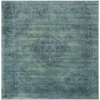 Safavieh Vintage Oriental Turquoise Distressed Silky Viscose Rug - 8' x 8' Square