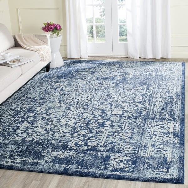 Wonderful Safavieh Evoke Vintage Oriental Navy / Ivory Distressed Rug - 6' 7  WA87