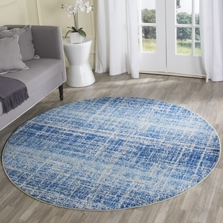 Safavieh Adirondack Modern Abstract Blue/ Silver Rug (4' Round)