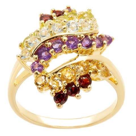 Dolce Giavonna Gold Over Sterling Silver Multi Gemstone Cluster Ring