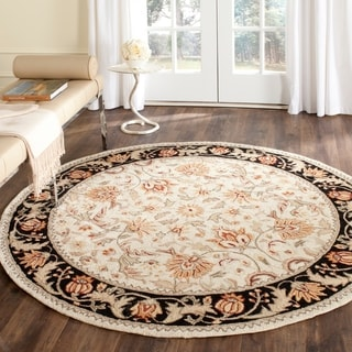Safavieh Hand-hooked Easy to Care Ivory/ Navy Rug (6' Round)