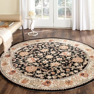 Safavieh Hand-hooked Easy to Care Black/ Ivory Rug (6' Round)