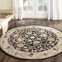 Safavieh Hand-hooked Easy to Care Black/ Ivory Rug (8' Round)