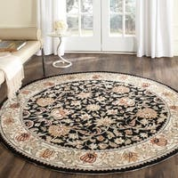 Safavieh Hand-hooked Easy to Care Black/ Ivory Rug - 8' Round
