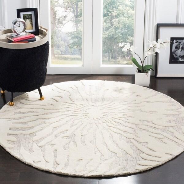 ecc585ad4 Shop Safavieh Handmade Bella Silver  Ivory Wool Rug - 5  x 5  Round ...