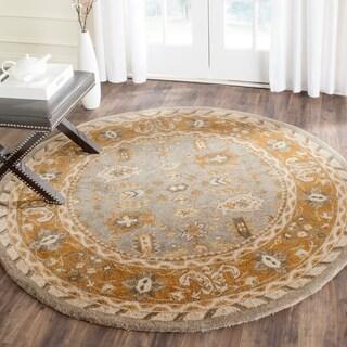 Safavieh Handmade Anatolia Oriental Light Grey/ Gold Hand-spun Wool Rug (6' Round)