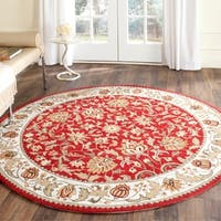 Safavieh Hand-hooked Easy to Care Red/ Ivory Rug - 8' x 8' Round