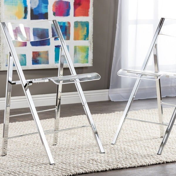 Clay Alder Home Tallulah Acrylic Folding Chairs (Set Of 2)