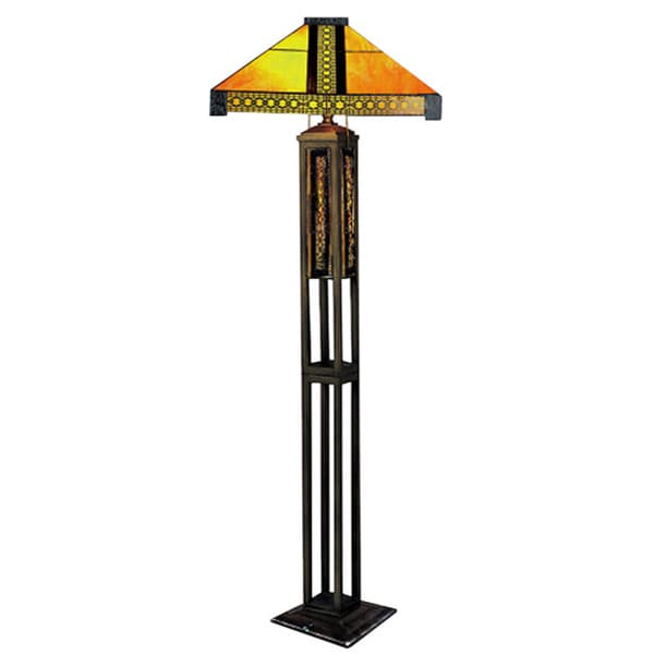 Shop poncha 2 light amber 65 inch tiffany style floor lamp on sale poncha 2 light amber 65 inch tiffany style floor lamp aloadofball Image collections