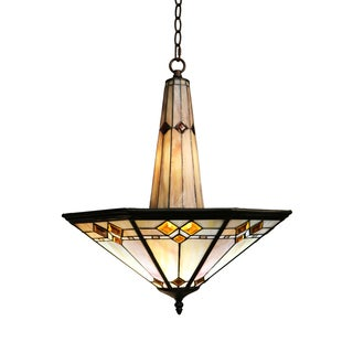 Sue 3-light Mission Style 19-inch Tiffany-style Ceiling Lamp