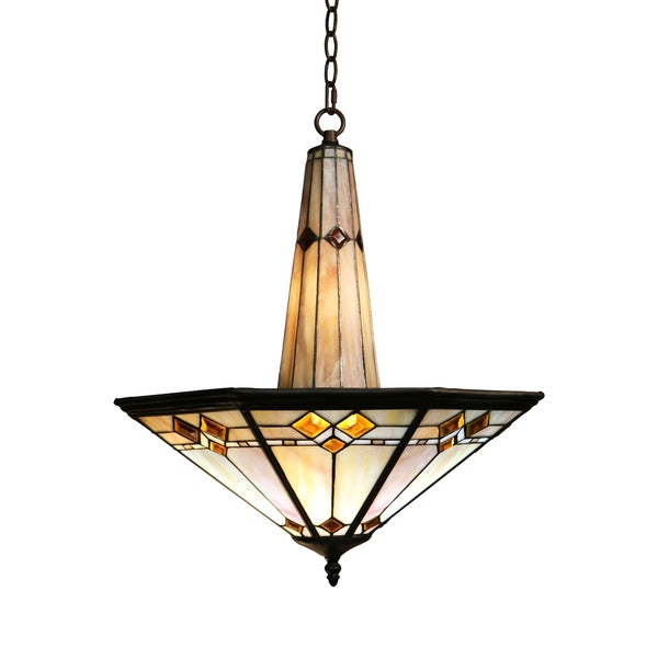 Shop Sue 3-light Mission Style 19-inch Tiffany-style Ceiling Lamp ...