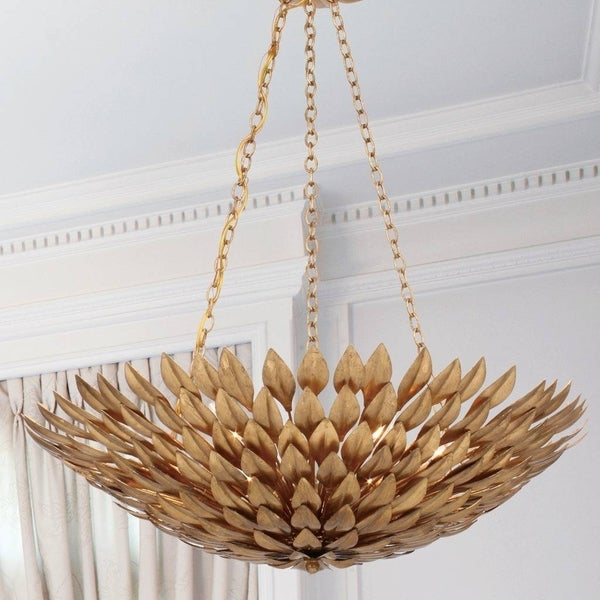 6 Light Antique Gold Chandelier