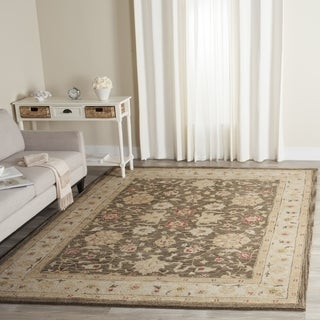 Safavieh Handmade Antiquity Olive Grey/ Beige Wool Rug (6' Square)