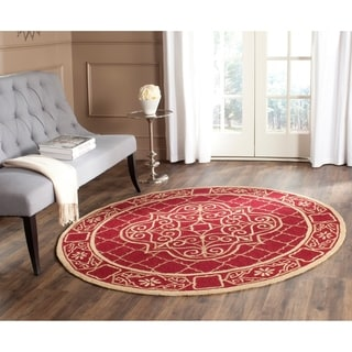Safavieh Hand-hooked Easy to Care Maroon/ Gold Rug (8' Round)