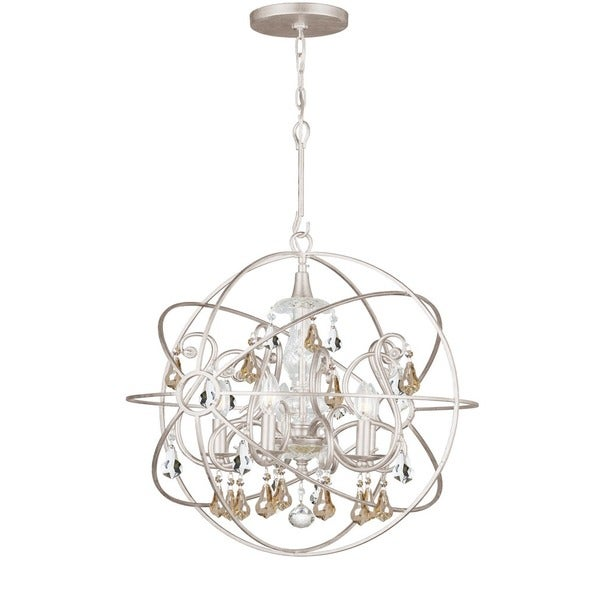 Crystorama Solaris Collection 5 Light Olde Silver Chandelier Free Shipping Today Overstock