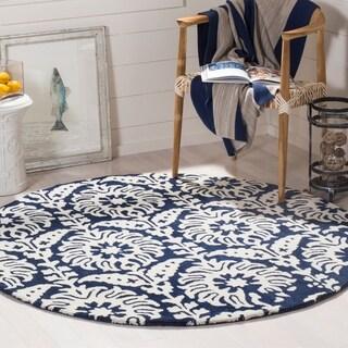 Safavieh Handmade Bella Navy/ Ivory Wool Rug (5' Round)