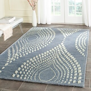 Safavieh Handmade Bella Blue/ Ivory Wool Rug (5' Round)