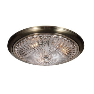 Crystorama Celina Collection 3-light Antique Brass Flush Mount