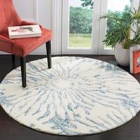 Safavieh Handmade Bella Dark Blue/ Ivory Wool Rug - 5' Round