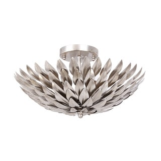 Crystorama Broche Collection 4-light Antique Silver Flush Mount