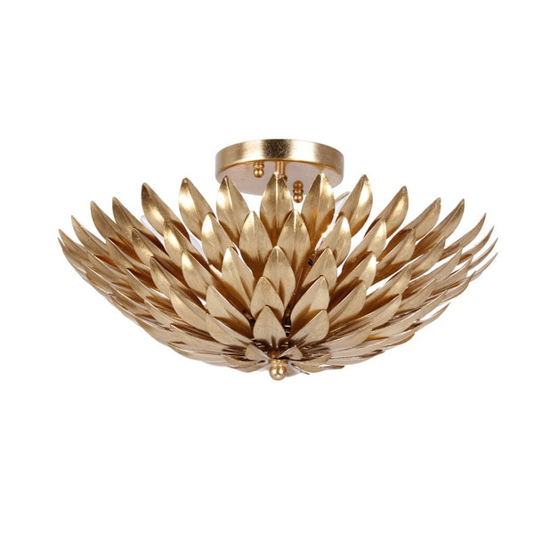 def800205 Shop Crystorama Broche Collection 4-light Antique Gold Flush Mount - Free  Shipping Today - Overstock - 11722898