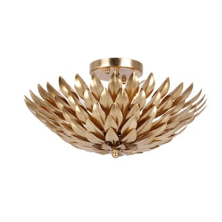 Crystorama Broche Collection 4-light Antique Gold Flush Mount