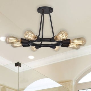 Crystorama Dakota Collection 8-light Charcoal Bronze Semi-Flush Mount