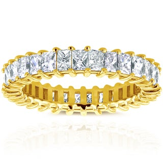 Annello by Kobelli 14k Yellow Gold 3 4/5ct TDW Princess Baguette Diamond Eternity Band (H