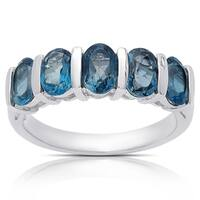 Dolce Giavonna Sterling Silver London Blue Topaz Five Stone Ring