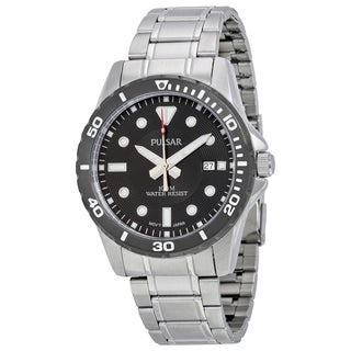Pulsar Men's Black Analog Dial Stainless Steel Bracelet Watch with Date Window