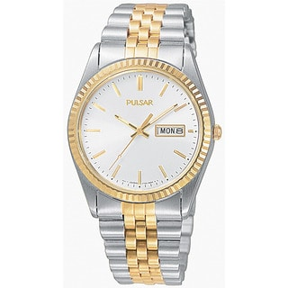 Pulsar Men's Analog White Dial Two-Tone Stainless Steel Bracelet Watch with Day and Date Window