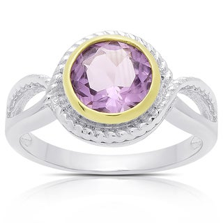Dolce Giavonna Sterling Silver Amethyst Circle Ring