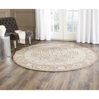 Safavieh Hand-hooked Easy to Care Ivory/ Gold Rug (8' Round)