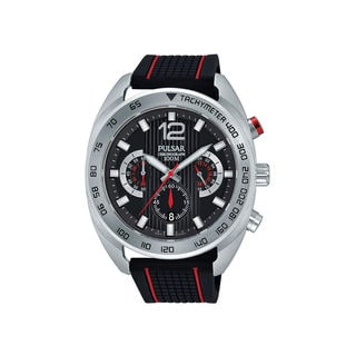 Pulsar Men's Chronograph Tachymeter Black and Red Watch with Three Sub Dials