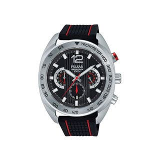 Pulsar Men's Chronograph Tachymeter Black and Red Watch with Three Sub Dials|https://ak1.ostkcdn.com/images/products/11723105/P18643004.jpg?impolicy=medium
