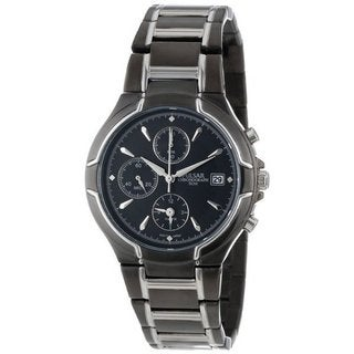 Pulsar Men's Chronograph Black and Silver Watch with Date Window and Three Sub Dials