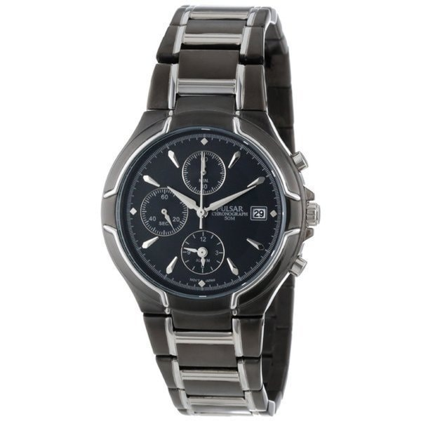 376f8acc2 Shop Pulsar Men's PT3289 Chronograph Black and Silver Watch - Free Shipping  Today - Overstock - 11723108