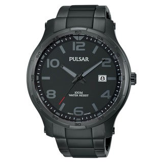 Pulsar Men's Analog Dial Black Ion Stainless Steel Watch with Date Window