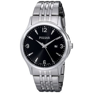 Pulsar Men's Black Dial Stainless Steel Bracelet Watch with Date Window