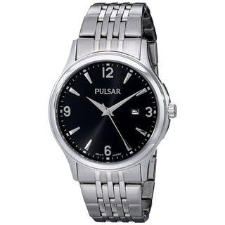 Pulsar Men's PH9075 Black Dial Stainless Steel Bracelet Watch with Date Window|https://ak1.ostkcdn.com/images/products/11723110/P18643009.jpg?impolicy=medium