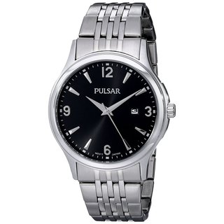 Pulsar Men's PH9075 Black Dial Stainless Steel Bracelet Watch with Date Window