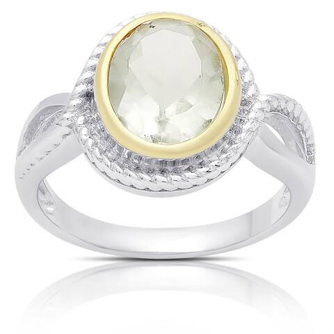 Dolce Giavonna Sterling Silver Green Amethys Oval Ring