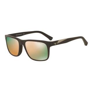 Emporio Armani Men's EA4071F 55094Z Brown Plastic Square Sunglasses