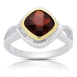 Dolce Giavonna Sterling Silver Cushion Cut Garnet Ring