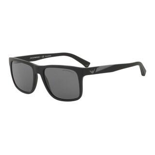 Emporio Armani Men's EA4071F 504281 Black Plastic Square Sunglasses