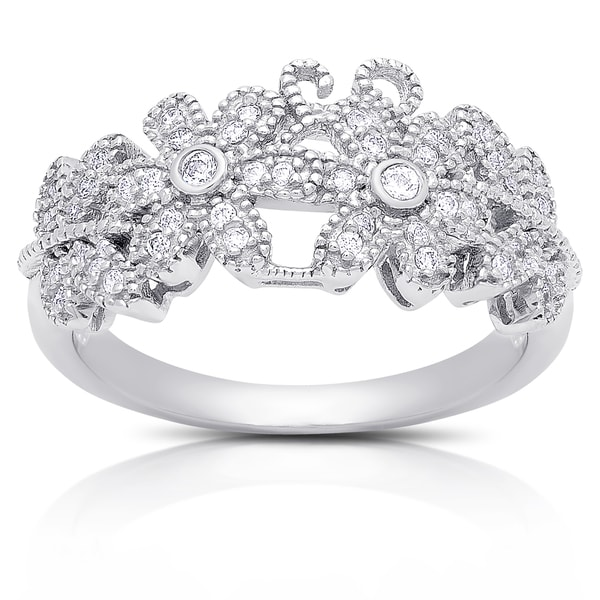 Samantha Stone Sterling Silver Cubic Zirconia Flower Design Ring