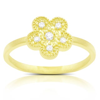 Samantha Stone Gold Over Sterling Silver Cubic Zirconia Flower Design Ring