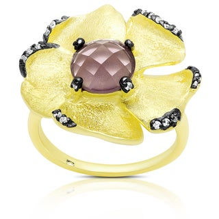 Samantha Stone Gold Over Sterling Silver Cubic Zirconia and Simulted Amethyst Flower Ring