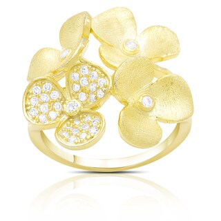 Gold over Sterling Silver Cubic Zirconia Multi Flower Ring (3 options available)